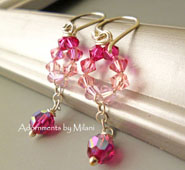 Pink Bridesmaids Earrings Crystal Wedding Jewelry