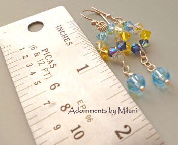Blue Yellow Bridesmaid Earrings Boutique Wedding Jewelry