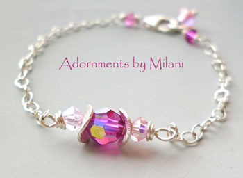 Pink Bridesmaid Bracelet Bridal Wedding Jewelry - Pink Gradations
