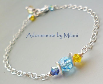 Blue Yellow Bridesmaid Bracelet Wedding Jewelry Matching Set