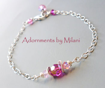 Pink Bridesmaid Bracelet Bridal Wedding Jewelry Sterling Silver Beaded