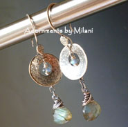 Morning Haze - Gray Earrings Sterling Silver Gemstone Labradorite Beaded Artisan