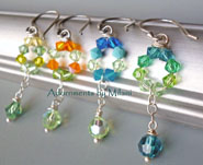 Green Bridemaid Earrings Bridal Gift Wedding Jewelry Crystal Beaded Sterling Silver