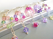 Pink Purple Green Yellow Bridemaid Earrings Bridal Pastel Wedding Beaded Sterling Silver Set