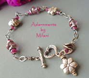 Pink Blossom Bracelet - Ruby Pink Topaz Gemstones Boutique Jewelry