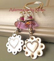 Pink Blossom Earrings Ruby Gemstone Beaded Flower Heart Valentine