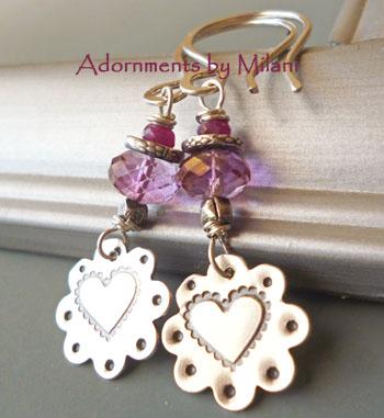 Pink Blossom Earrings Ruby Gemstone Beaded Flower Heart Valentine