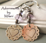 Lavender Blossoms Earrings Heart Light Purple Valentine Amethyst Artisan Beaded Sterling Silver