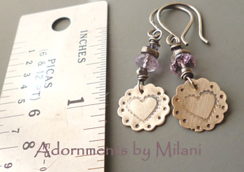 Lavender Blossoms - Heart Light Purple Earrings Amethyst Artisan Beaded Valentine Sterling Silver