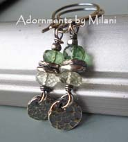 Awaiting Fall - Green Earrings Gemstones Beaded Sterling Silver Artisan