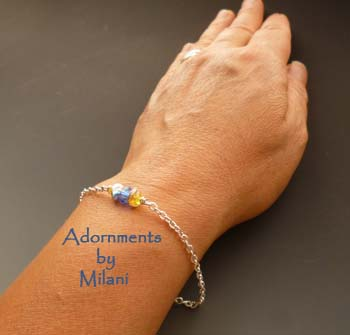 Royal Blue and Yellow Bridal Bridesmaid Bracelet Gift Jewelry Sterling