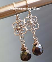 Vintage Black - Gemstone Earrings Beaded Flower Sterling Silver