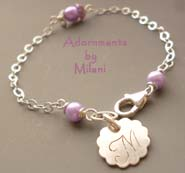 Pastel Lavender Bracelet - Monogram Purple Pearls Initial Bridesmaids Wedding Jewelry