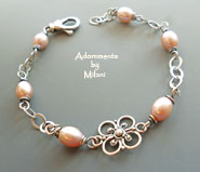 Antique Pink Pearl Bracelet Sterling Silver Vintage Bridal Bridesmaid Jewelry