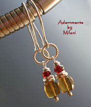 Golden Honey Earrings - Topaz Brown Red Garnet Gemstone Beaded