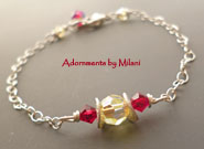 Yellow and Red Bracelet Bridesmaid Wedding Jewelry