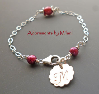 Cranberry Red Bracelet Monogram Pearls Bridesmaids Wedding Jewelry