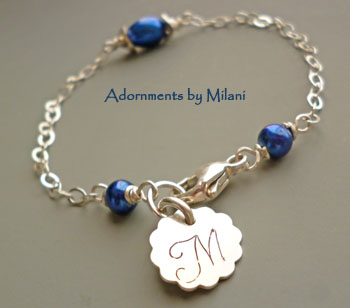 Colonial Blue Bracelet Monogram Pearl Bridesmaid Wedding Bridal Jewelry