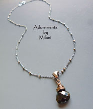 Affinity - Black Necklace Spinel Gemstone Sterling Silver Chain Simple Beaded