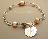 Maid of Honor Bracelet Beige Ivory Light Pink Pearl Monogram Bridesmaid Jewelry