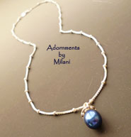 Colonial Blue Necklace Pearl Bridesmaid Wedding Dark Navy Jewelry