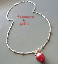 Cranberry Red Necklace Pearl Bridesmaids Wedding Jewelry Matching Set