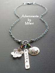 Eclectic Mommy Necklace Personalized Children Three Names Flower Charm