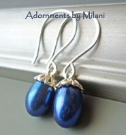 Colonial Blue Earrings Pearl Navy Dark Matching Set