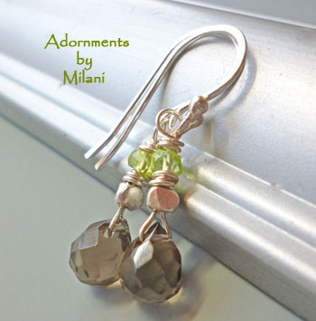 Deciduous - Green Brown Earrings Stone Beaded Earrings