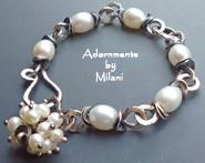 La Femme Pearl Bracelet Vintage Patina Artisan Bridal Sterling Silver