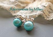 Aqua Pool Blue Earrings Pearl Posts Stud Sterling Silver Matching Bracelet Necklace
