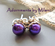 Concord Purple Earrings Stud Posts Pearl Sterling Silver