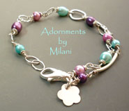 Sprightly Spring Bracelet - Tiffany Blue Purple Pink Colorful Pearl