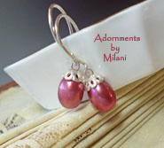 Cranberry Red Earrings Pearl Wedding Bridesmaid Jewelry