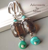 Upolu Turquoise Earrings Smoky Quartz Beaded Stone