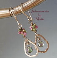 Soliloquy- Green Pink Gemstone Beaded Earrings