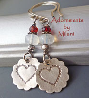 Moonstone Blossoms Red Heart Earrings White Beaded Artisan Sterling Silver Valentine