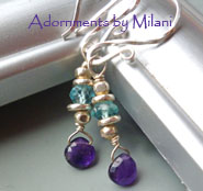 Paloma Purple Earrings Amethyst Blue Apatite Gemstones Beaded