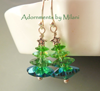 Oh, Christmas Tree Earrings Sparkly Beaded Sterling Silver Green