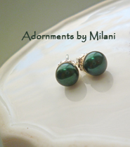 Hunter Green Earrings Dark Pearl Bridesmaid Post Sterling Silver