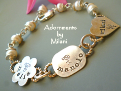Eclectic Grandma or Mom Bracelet Children Name Jewelry Personalized Sterling Silver Mixed Shapes