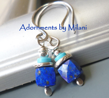 Royal Blue Earrings Lapis Lazuli Stones Beaded Small