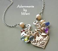 Grandma Necklace with Gemstone Birthday Birthstones Grandchildren Initials