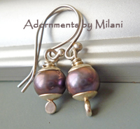 Dusk Earrings - Mauve Purple Pearl Sterling Silver
