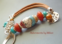 Southwestern Palette - Leather Bracelet Red Blue Turquoise Glass Beaded