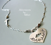Autism Awareness Necklace Children Names for Mom Grandma Personalized Puzzle Heart Sterling Silver