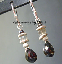 Hologram - Black Gray Earrings Gemstone Labradorite Sterling Silver Beaded