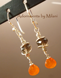 Zest - Orange Brown Earrings Stone Sterling Silver Beaded