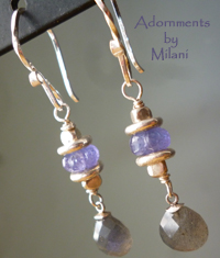 Stratus - Tanzanite and Labradorite Earrings Purple Gray Gemstones Beaded Sterling Silver