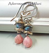 Caloric Confections Pink and Gray Earrings Gemstone Beaded Labradorite Rhodochrosite Sterling Silver